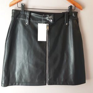 7 for all mankind faux leather mini skirt | L